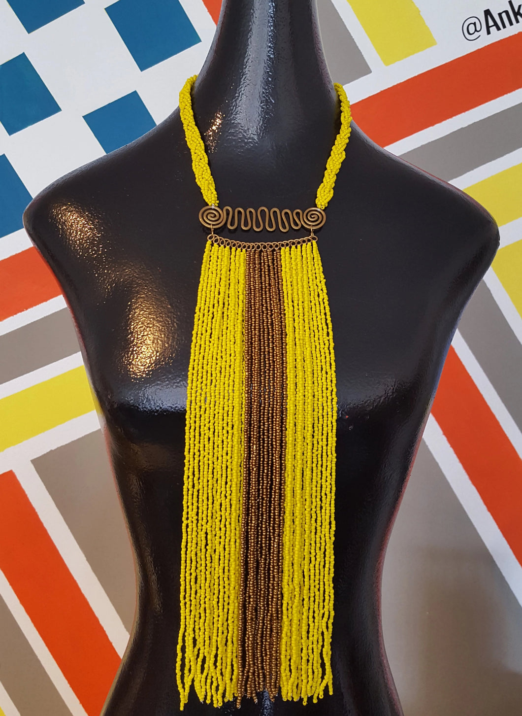 Sunshine Yellow Beaded Vest Necklace Set