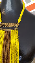 Load image into Gallery viewer, Sunshine Yellow Beaded Vest Necklace Set
