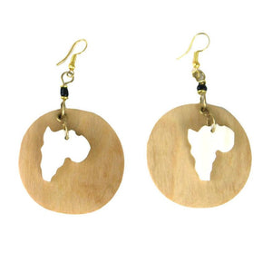 Africa Map Bone & Wood Earrings