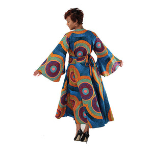 Blue Swirl African Wrap Dress