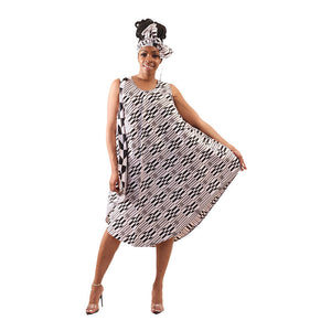 Black & White Kente Print Umbrella Dress