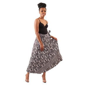 Black & White Kente Print Wrap Skirt