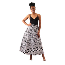 Load image into Gallery viewer, Black & White Kente Print Wrap Skirt