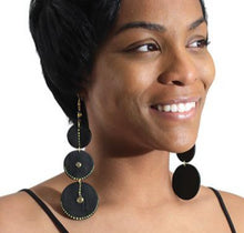 Load image into Gallery viewer, Black Wooden Goddess Earrings