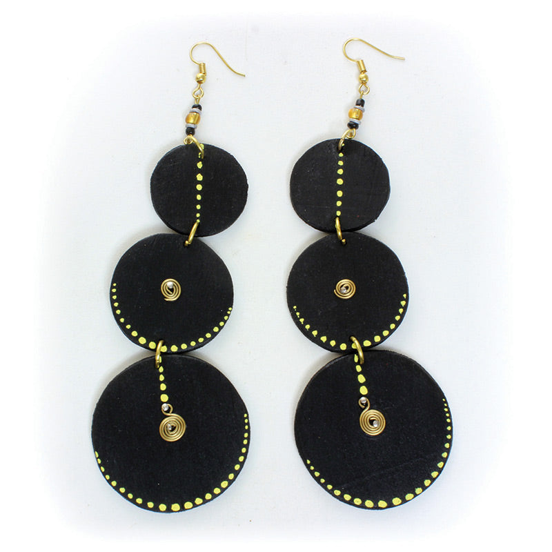 Black Wooden Goddess Earrings