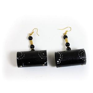 Black Wooden Drum Earrings