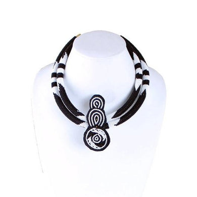 Black & White Double Row Fine Bead Choker