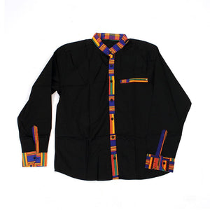 Blue Kente Trim Dress Shirt