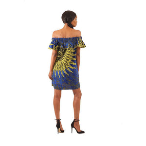 Ngozi Ruffle Dress - Blue Sun
