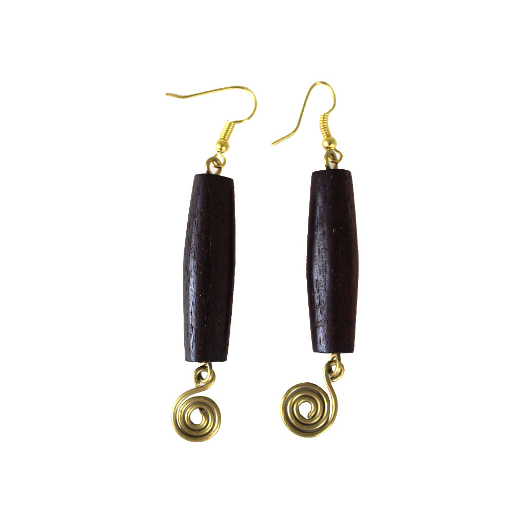 Dark Brown Bone & Brass Earrings