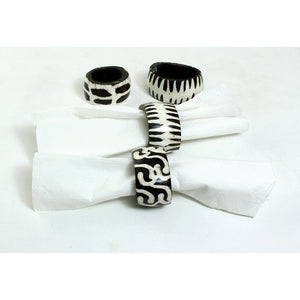 Batik Bone Napkin Rings (Set of 4)