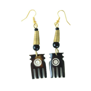 African Bone Comb Earrings