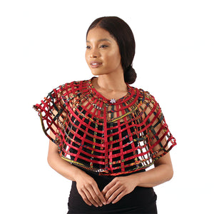 Ankara Print Lattice Cape