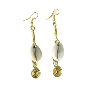 Cowry Shell & Brass Earrings