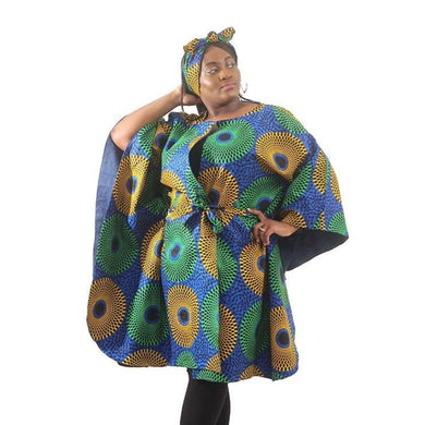 Denim Lined Ankara Poncho