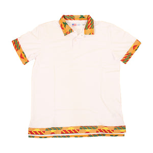 Men's Kente Print Trim Polo Shirt