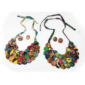 Ankara (Kitenge) Button Necklace Sets
