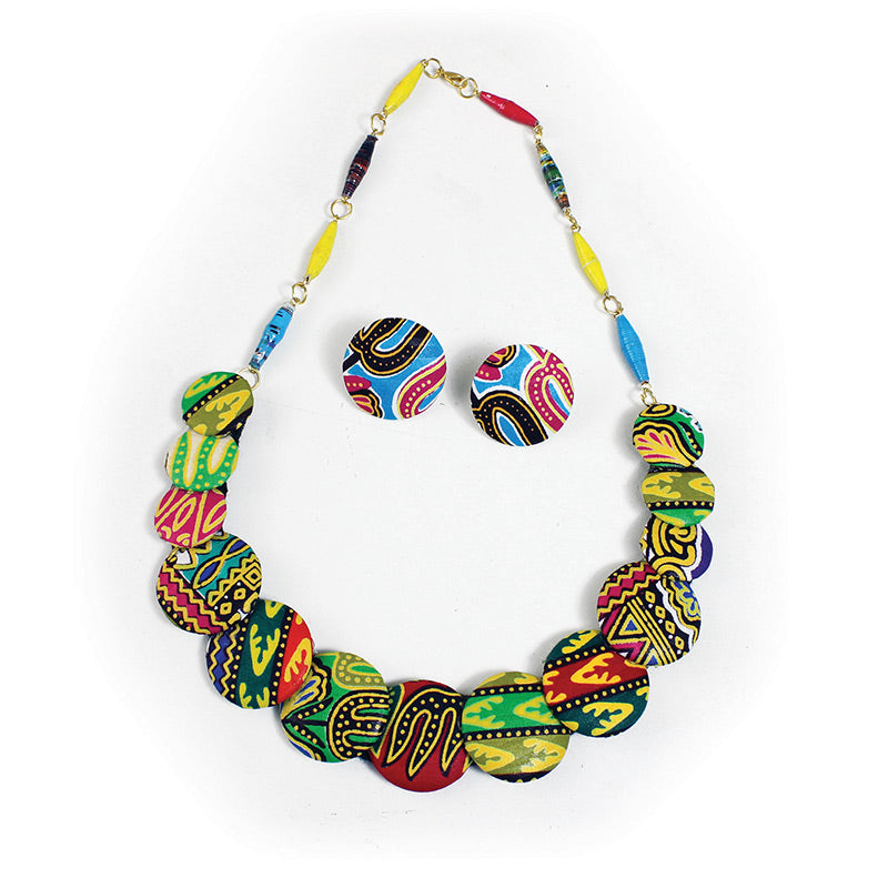 Ankara (Kitenge) Button Necklace Sets (Pre-Order)