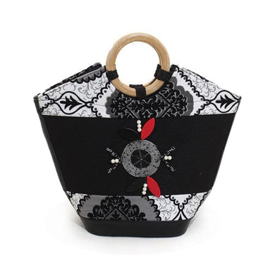 Leather Kenyan Handbag - Black/White