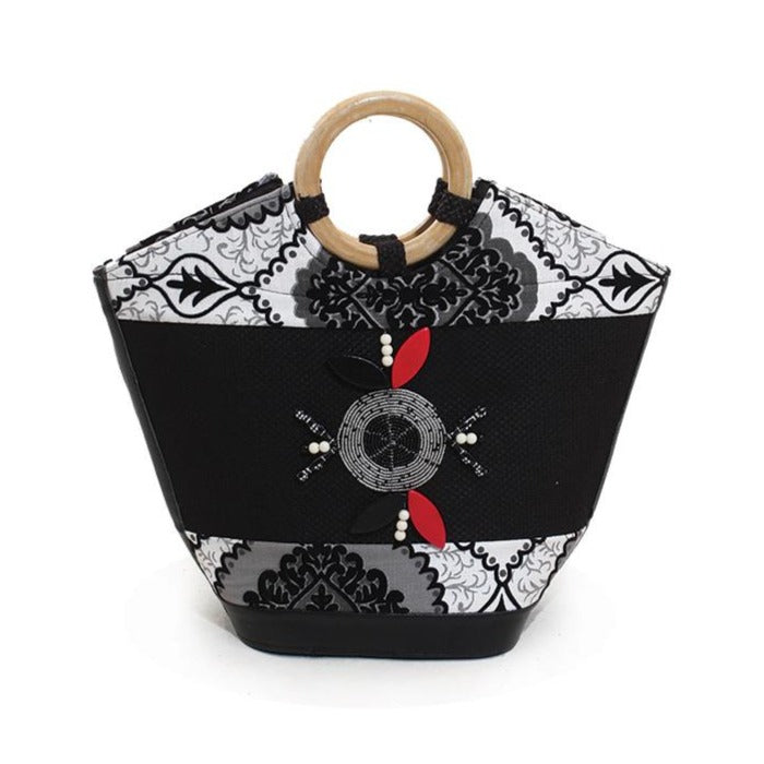 Leather Kenyan Handbag - Black/White (Pre-Order)