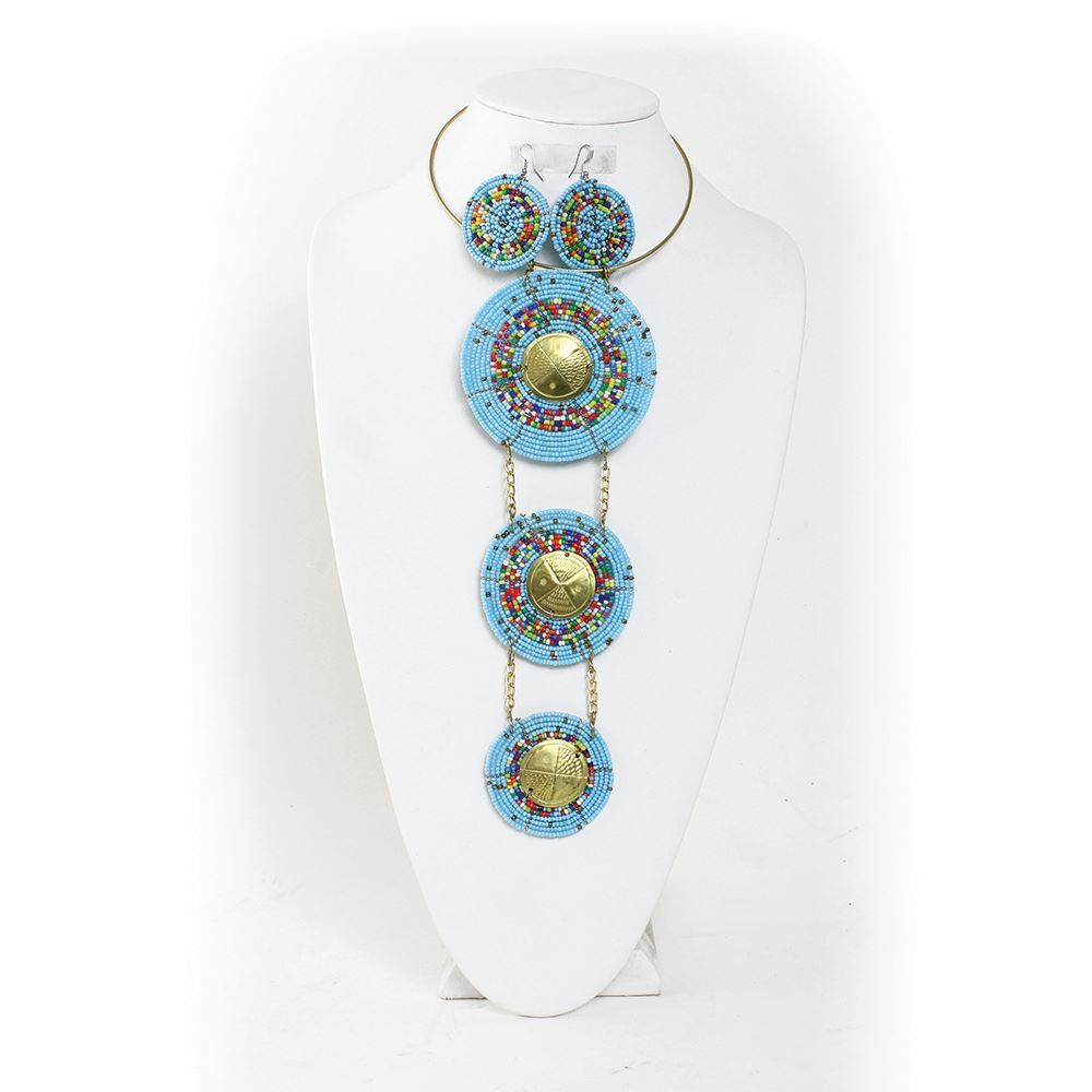 Maasai Bead & Brass Goddess Set - Light Blue