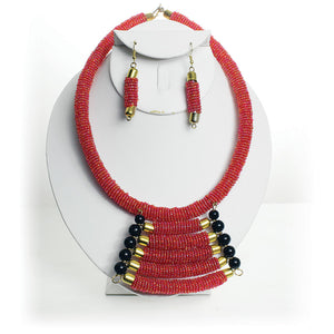 Maasai Empress Choker Set: Red