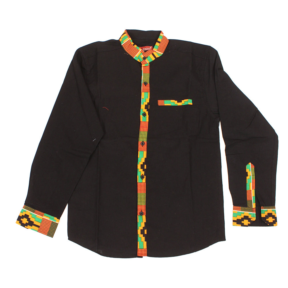 Orange Kente Trim Dress Shirt