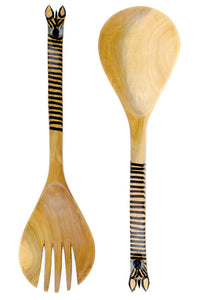 Kenyan Wood 2pc Salad Set - Animal Handle