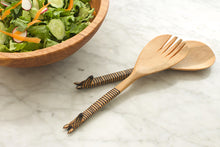 Load image into Gallery viewer, Kenyan Wood 2pc Salad Set - Animal Handle