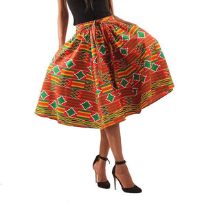 Holiday Red Kente Midi Skirt