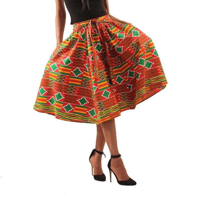 Red Kente Midi Skirt (Pre-Order)