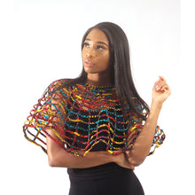 Load image into Gallery viewer, Ankara Print Lattice Cape