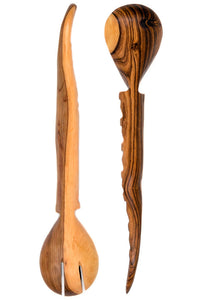 Kenyan Olive Wood Antelope Horn 2pc Salad Set