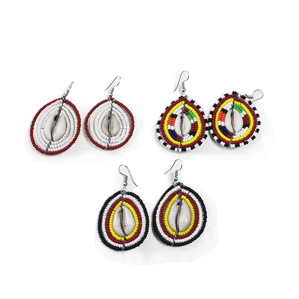 Maasai Bead Cowry Earrings