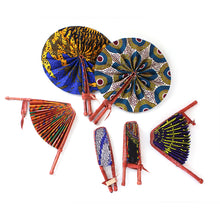Load image into Gallery viewer, African Print Leather Folding Fan