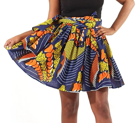 Ankara Mini Skirt - Orange Hearts