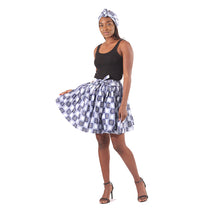 Load image into Gallery viewer, Ankara Mini Skirt - Blue Checkerboard