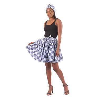 Ankara Mini Skirt - Blue Checkerboard