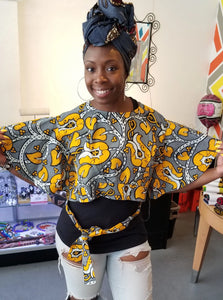 Fabian & Mom Ankara Open-Back Crop Top