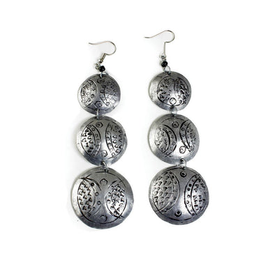 'Triple Silver Crescent' Earrings
