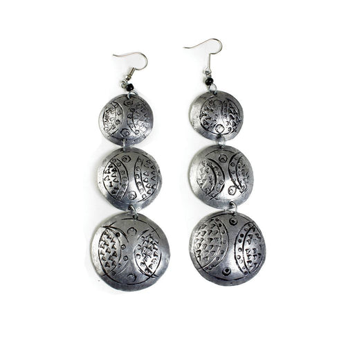 'Triple Silver' Earrings