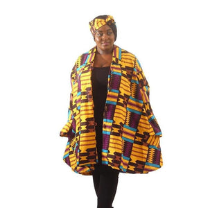 Kente Print Umbrella Jacket