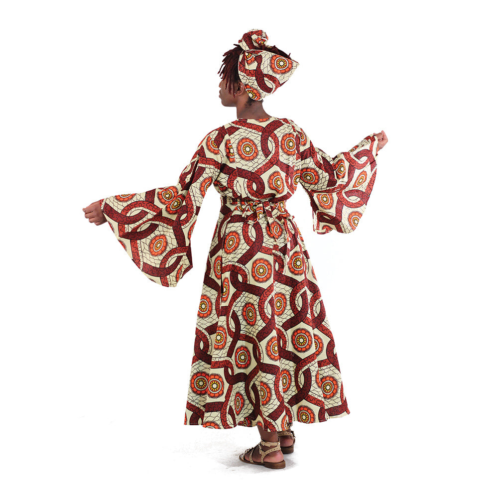 Chocolate Delight African Wrap Dress