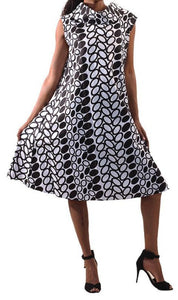 Stella Black & White Print Collar Dress - Plus