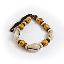 Load image into Gallery viewer, Unisex Cameroonian Wood & Cowry Bead Bracelet