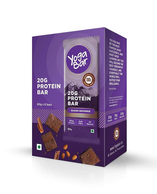 Yogabar Protein Chocolate Brownie Bars, Pack of 6 (60gm each)