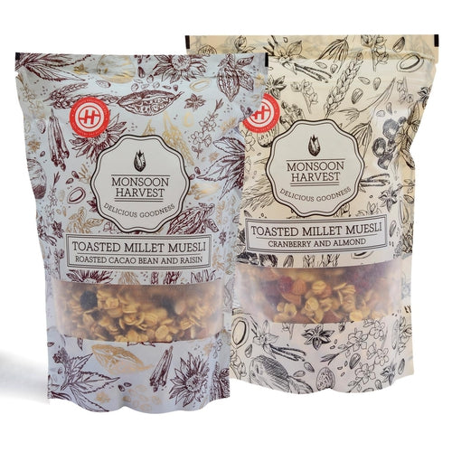 Toasted Millet Muesli Combo - Roasted Cacao Bean & Raisin + Cranberry & Almond - 500 gm
