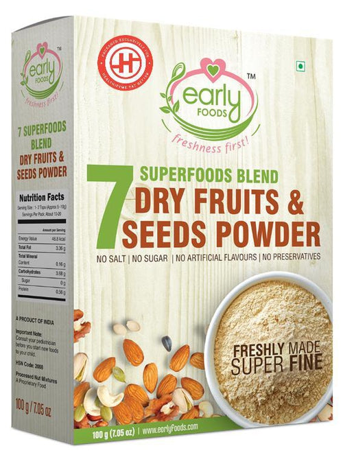 Early Foods - Dry Fruits & Seeds Powder for Kids - Blend of 7 Indian Super Foods (12 Months+) - 100 gm
