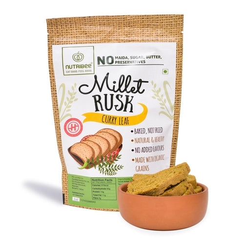 Millet Rusk - Curry Leaf, Pack of 3(75gm each)