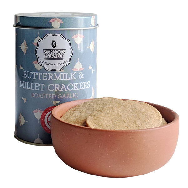 Buttermilk & Millet Crackers-Roasted Garlic, Pack of 2
